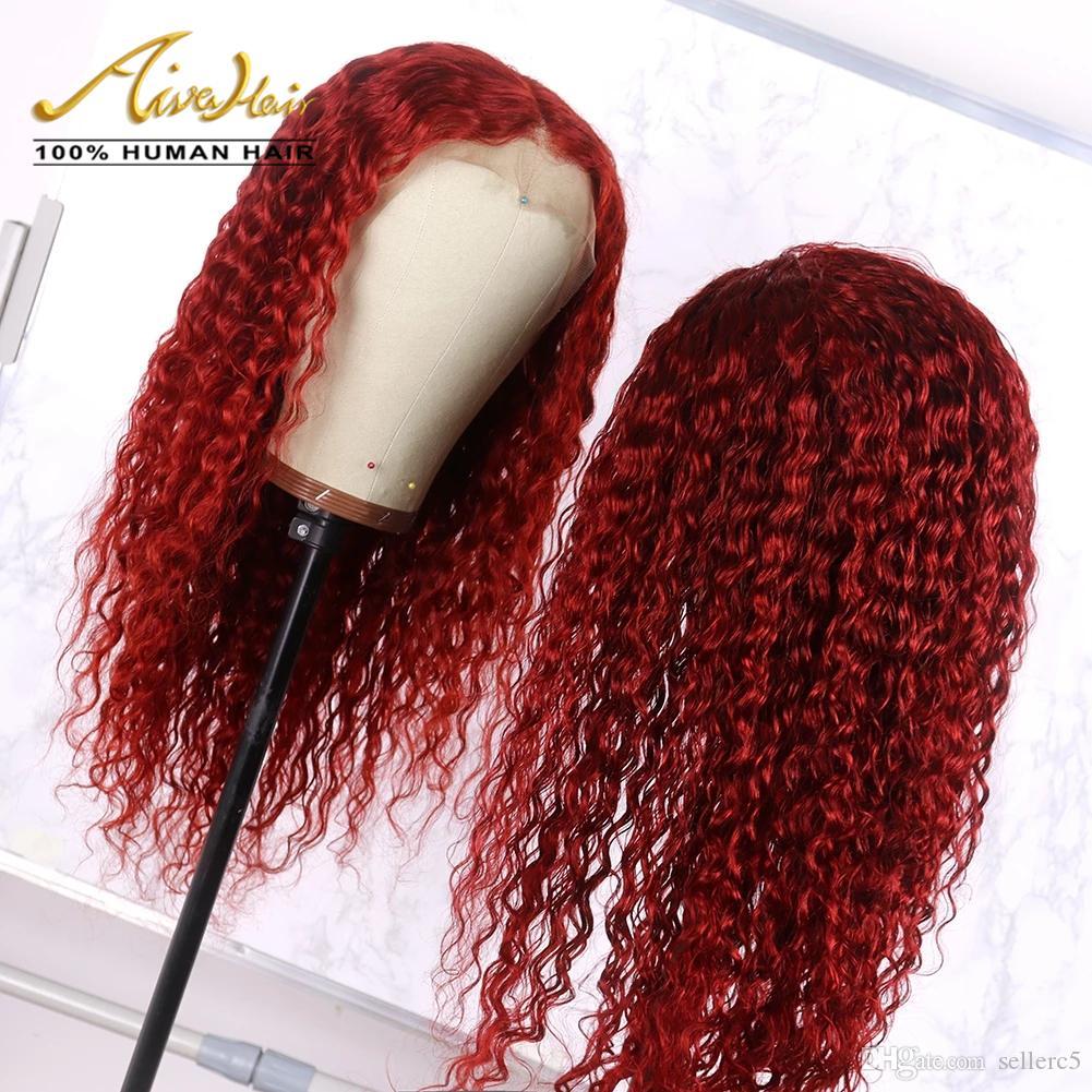 Donne in pre Dark Red brasiliana merletto dei capelli umani completa parrucche in profondità ricci Glueless parrucche per Nero a pizzico linea sottile con capelli del bambino