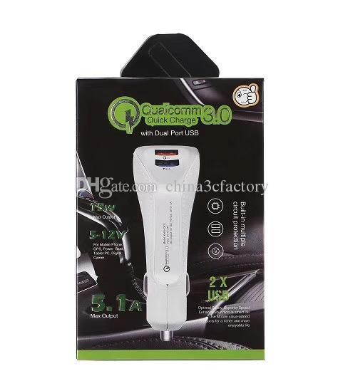 Автомобильное зарядное устройство быстрой зарядки Dual USB зарядное устройство Qualcomm QC3.0 + 3.1A быстрая зарядка адаптер для iphone Samsung Универсальный телефон