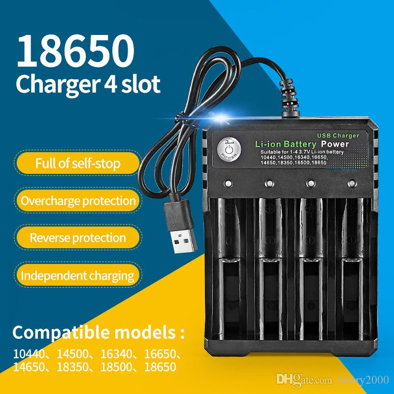 18650 Battery Charger 4 Slot Chargers Independently Wholesale USB Charging for Rechargeable reuse Li-ion Battery with Retail Package