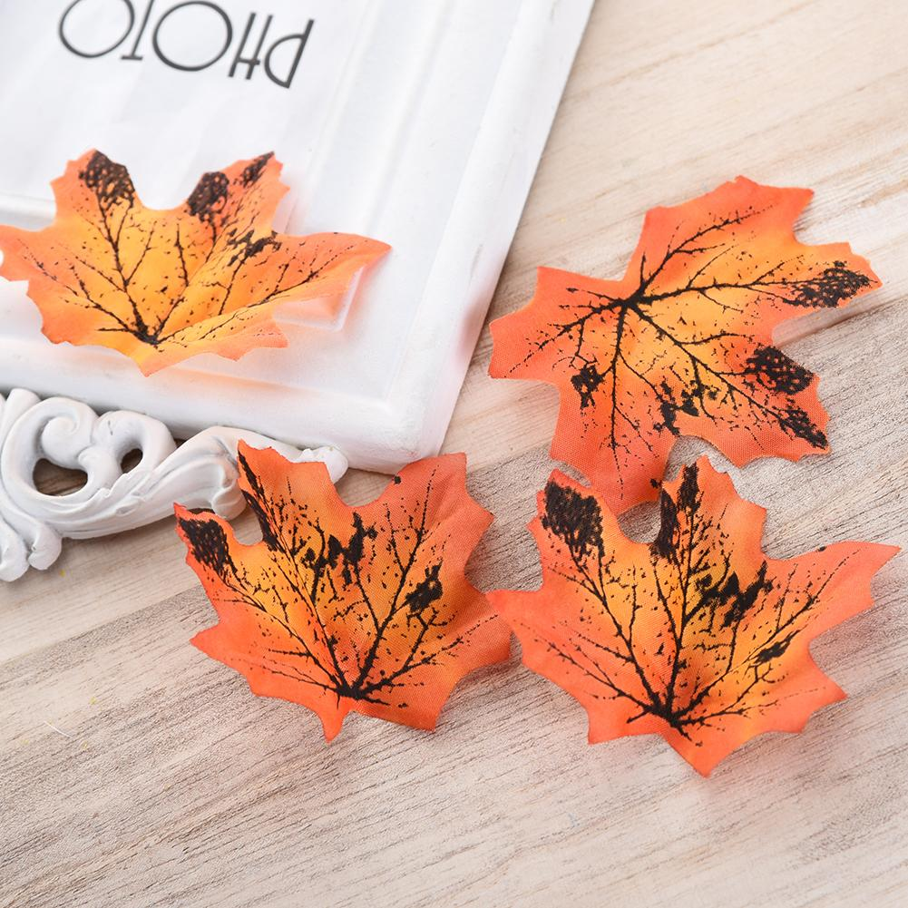 50pcs Artificial Flowers Silk Maple Leaves Plants Autumn Fall Leaf Art Scrapbooking Wedding Bedroom Wall Party Decor Craft C18112601