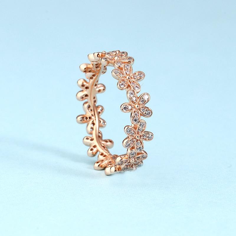 Atacado-Tailandês de prata flor de prata diamante anel de CZ para a jóia Pandora ouro rosa anel temperamento senhoras flor com caixa original