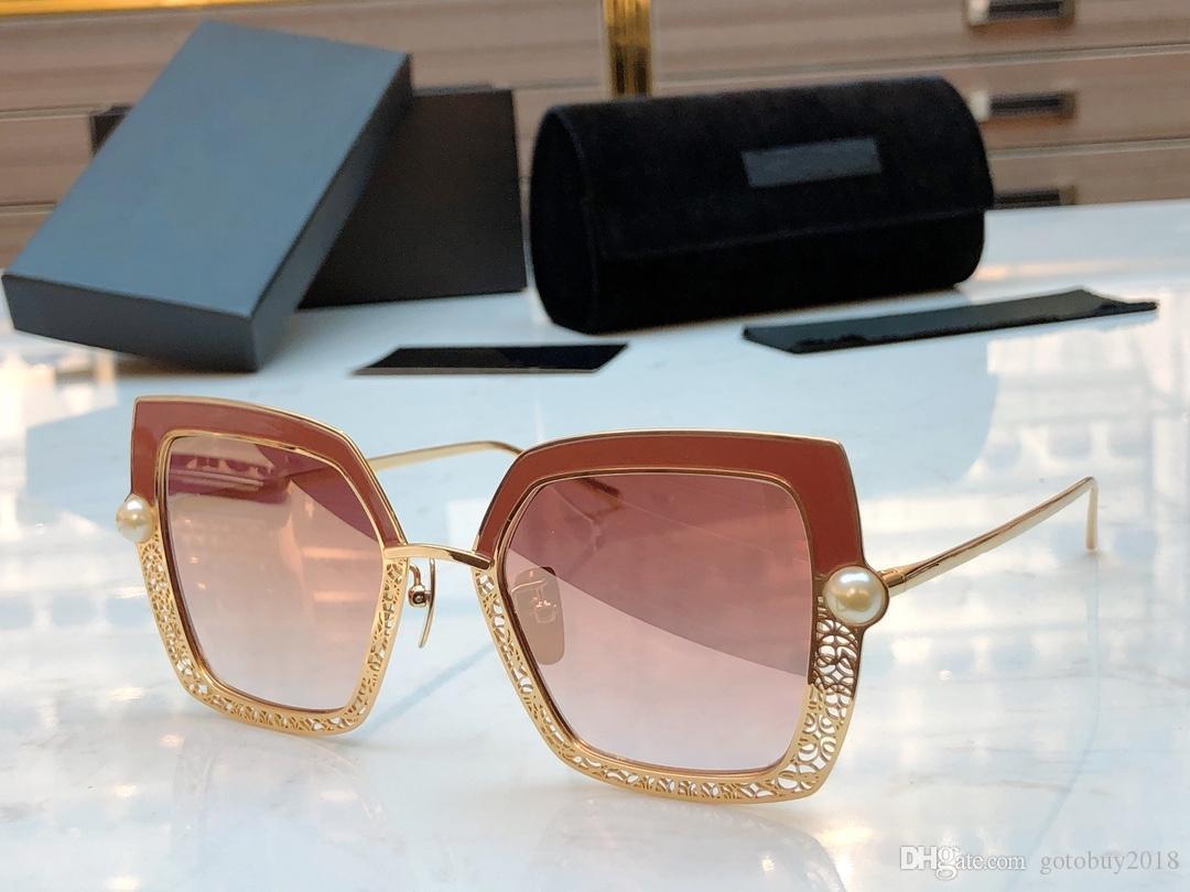 2020 nouveau cadre métallique en creux d'or de qualité supérieure avec les lunettes roses de perle de mode hommes femmes lunettes de soleil avec boîte et dastbag