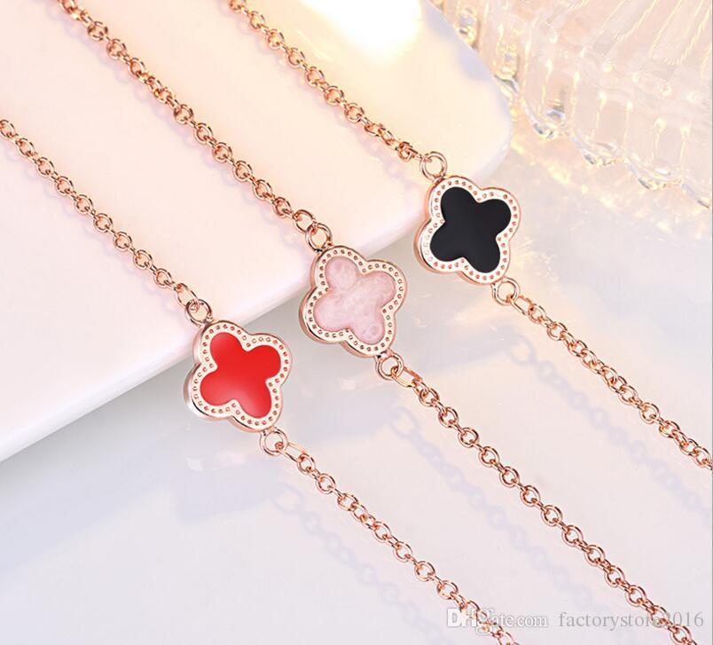 18K Rose Gold Bangle Bracelet Earrings Ring Pendant Necklace Set Luxury Clover Charm Lovely Jewelry for Women Valentine Day Xmas Gift