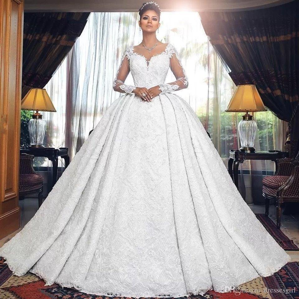 Arabic Dubai Vintage Wedding Dresses Lace Appliques Ball Gown Bridal Gown Capped Long Sleeves Sweep Train Vestido de Novia