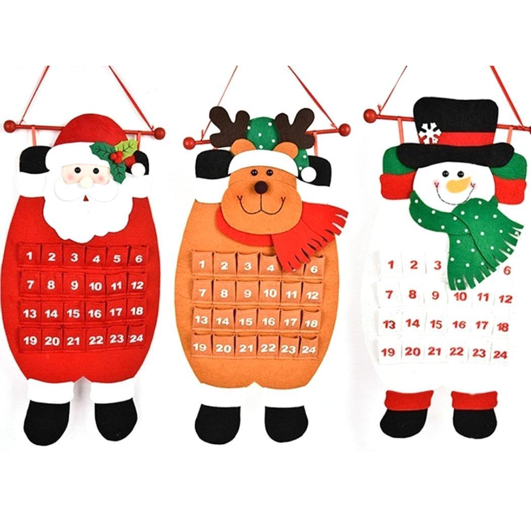 Calendário Do Advento do natal Papai Noel Bonecos De Neve Pendurado Calendário Do Natal Porta Da Janela Da Janela Decoração Presente de Natal