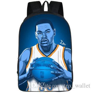 mochila al aire libre de baloncesto de impresión mochila bolsa de la escuela Deporte Kevin Durant mochila mochila MVP estrella super jugador mochila