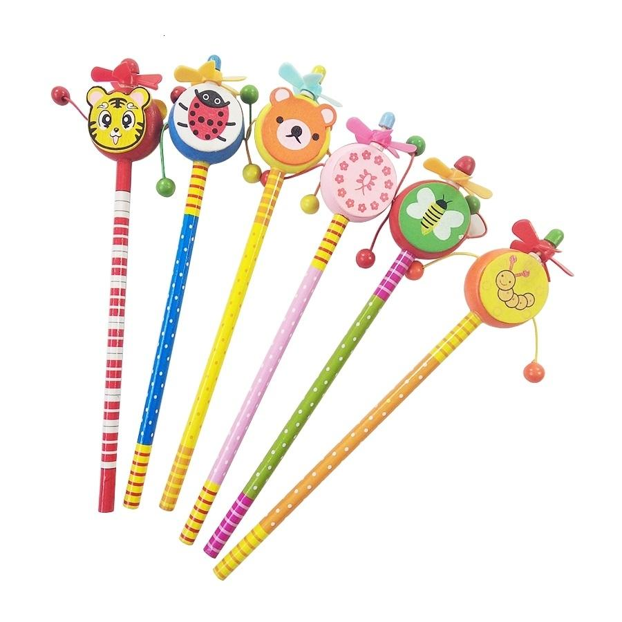 24 Pcs/lot Windmill Animal Doll Designs Party Favors Small Gift Wooden Write Supply For Children Cute HB Pencil Gift For Weeding SH190913