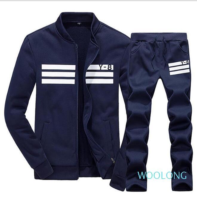 Плюс размер M-4xl спортивная одежда толстовка и толстовки черный белый весна осень Бегун спортивный костюм Мужские спортивные костюмы комплект