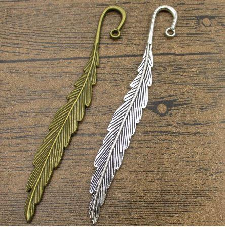 Charms longue plume 4pcs / Lot 120 * 13mm Bookmark alliage Pendentifs main Hairpin Jewel bricolage charme Fournitures 2 couleurs disponibles-WY1129