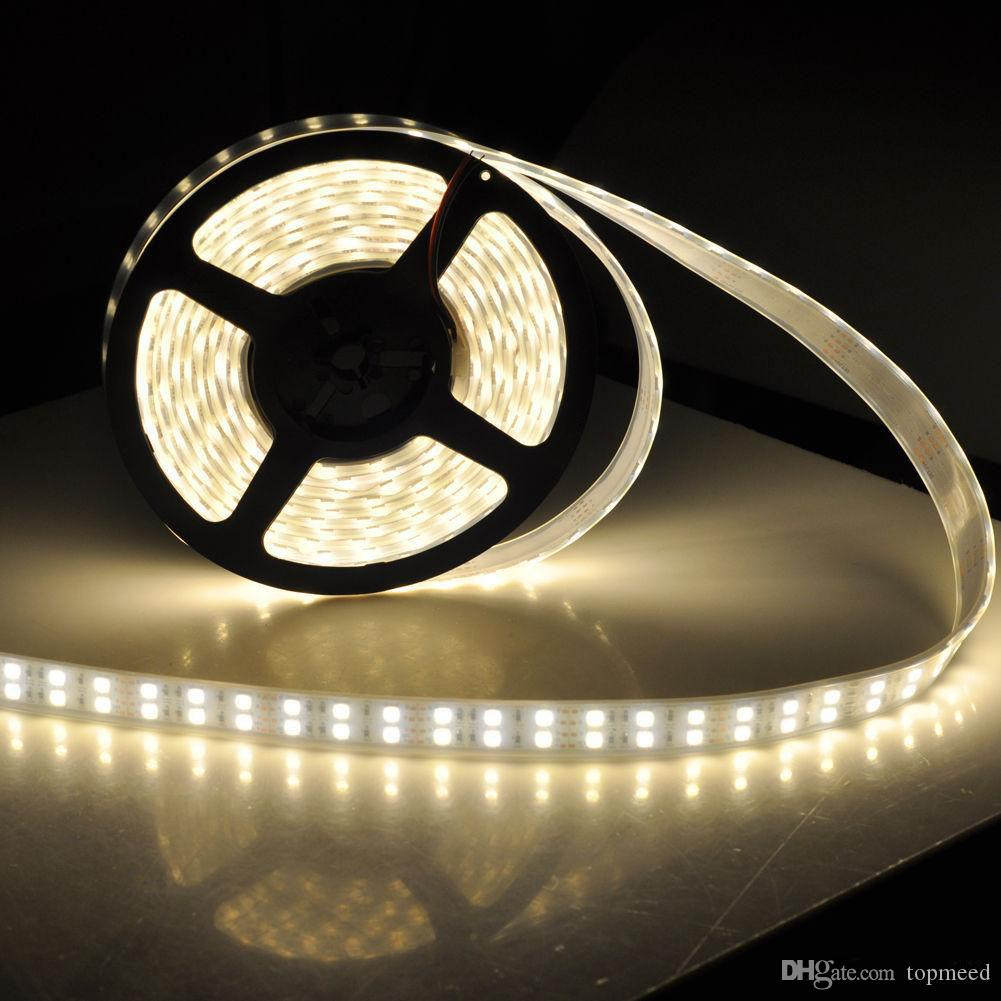 NEW 120 LEDs / m LED-Streifen 5050 600leds DC12V Silikon-Schlauch-Lichter wasserdicht flexible LED-Licht zweireihig Rohr 5m 5050 LED-Streifen