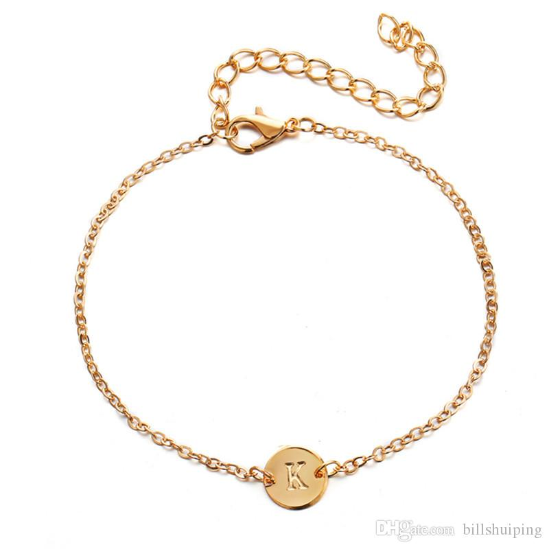 New Fashion Simple 26 alphabet Charm Bracelets adjustable link Jewelry Silver Gold color For Women Girl Free Shipping