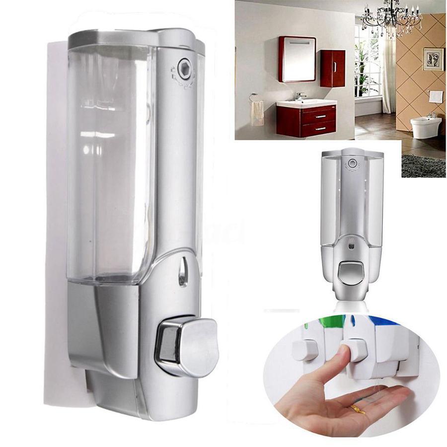 Montado en la pared Jabón Dispensador de jabón de plástico Dispensador de líquido desinfectante desinfectante de la mano de ducha champú dispensadores OOA8097