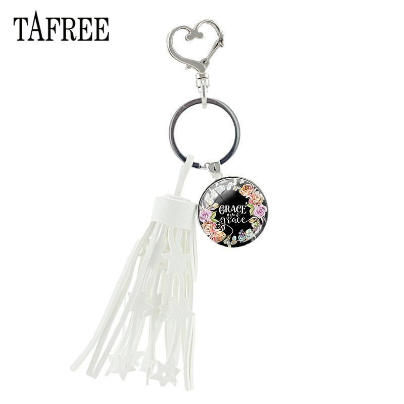 White Tassel Heart Clasps Key Ring Glass Dome Psalm Bible Verse Quote Keychain Pendant Alloy Metal Bag Key Charm Lt20FAQs: