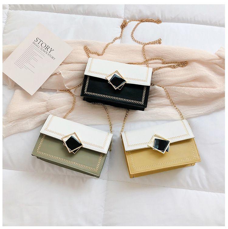 3 estilos de color de contraste de la cadena de la aleta pu bolso de cuero de las mujeres dama chica de viaje de moda partido bandolera bandolera FFA2535