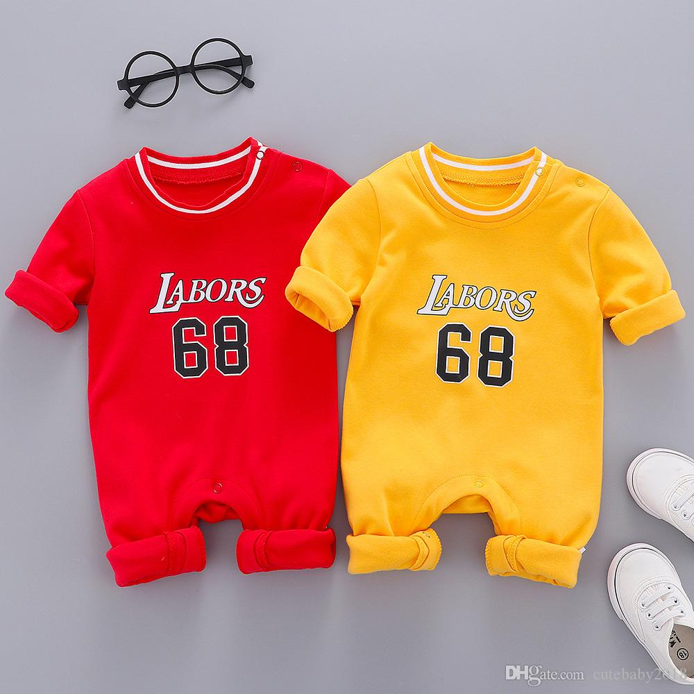 Wholesale newborn baby boy clothes Baby Girls Rompers 2019 Autumn baby romper basketball sports rompers suits jumpsuit climbing clothes