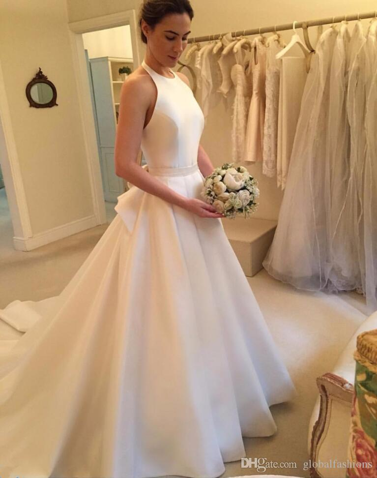 2019 Newest Simple Design Wedding Dresses With Backless Halter Satin Bow Sexy Formal Occasions Bridal Gowns