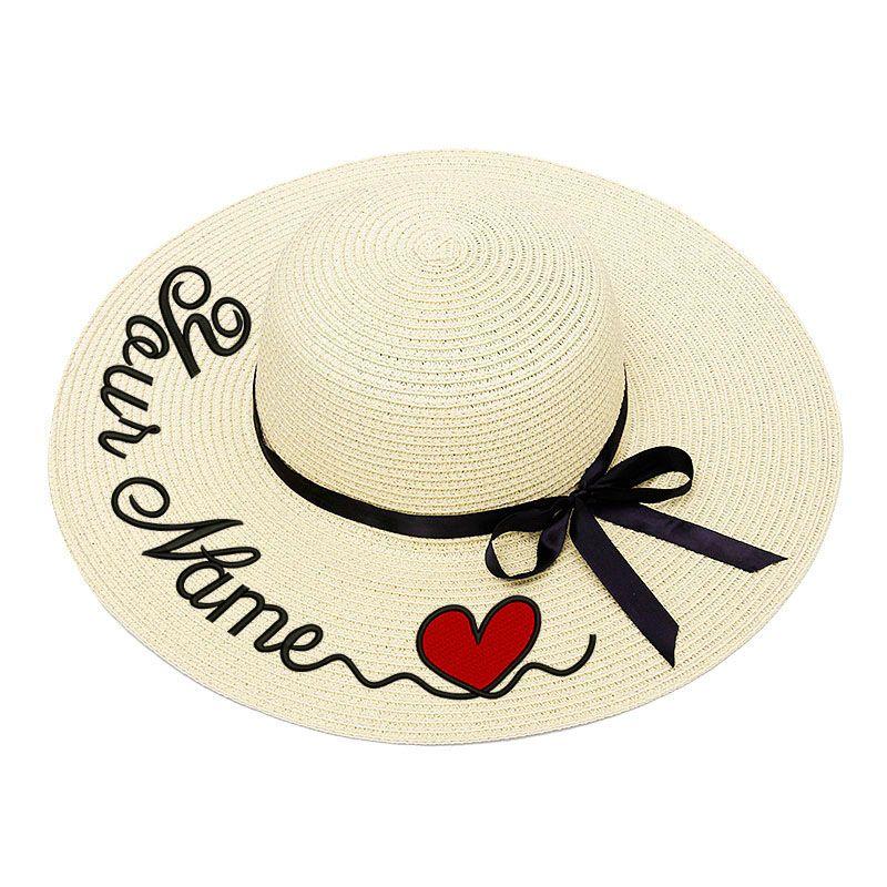 Bordado personalizado sob encomenda Seu Mulheres Nome Chapéu de Sol Grande Brim chapéu de palha ao ar livre Praia de Verão Cap Dropshipp
