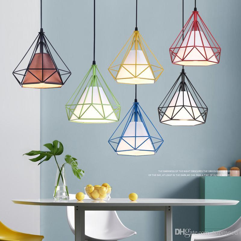 Commercio all'ingrosso Nordic loft vintage industriale bar vino tre arte in ferro da pranzo lampadario studio diamante personalità creativa lampade e lanterne