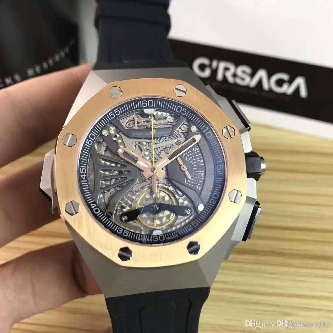 Royal Oak mit Saphir mirror.VK Timing Quarz movement.High Qualität steel.Royal Eiche Serie 26577 Konzept Serie 3A quality.Quartz Uhr