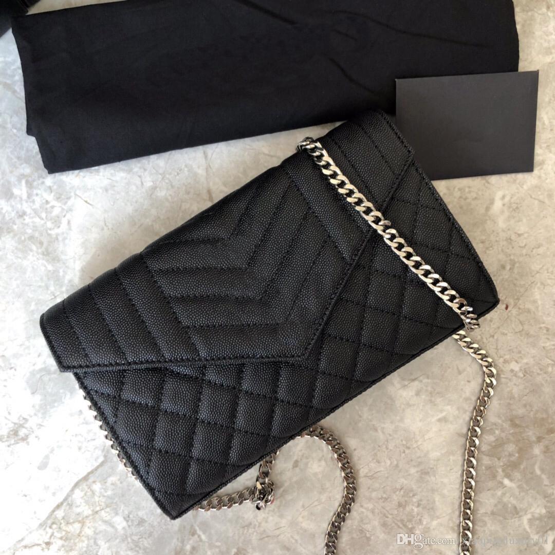 schwarz Kalb Leder kleiner Mundschutz Dame elegante Schultertaschen Umhängetaschen mit Silberband Ketten hochwertiger Umschlag Taschen
