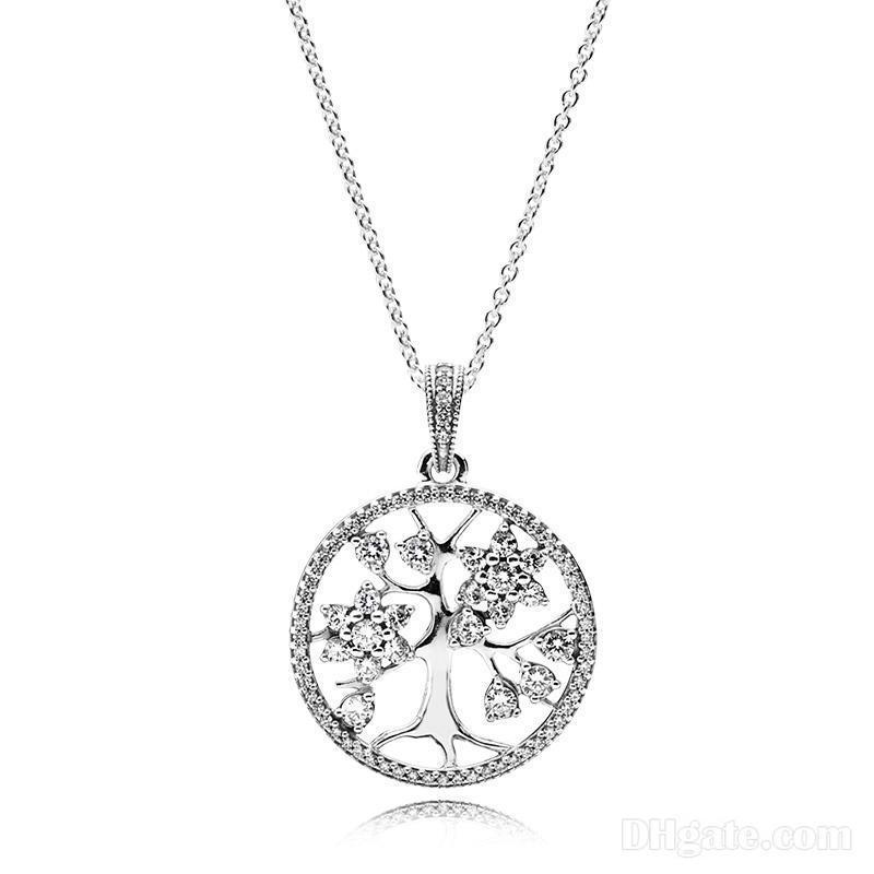 Hängende Halsketten 925 Sterlingsilber-Stammbaum des Lebens Anhänger Halskette mit Logo graviert für Pandora Schmuck Männer Frauen Halskette
