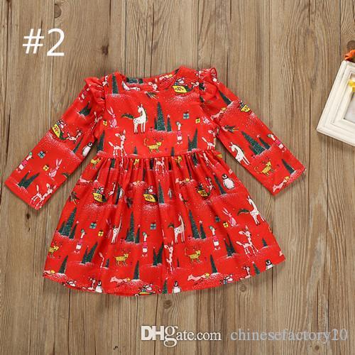 Bébé Fille Arbre De Noël Robe Père Noël Robes Enfant Automne Hiver Robe À Manches Longues Enfants Xmas Princesse Pingouin Rouge Vêtements
