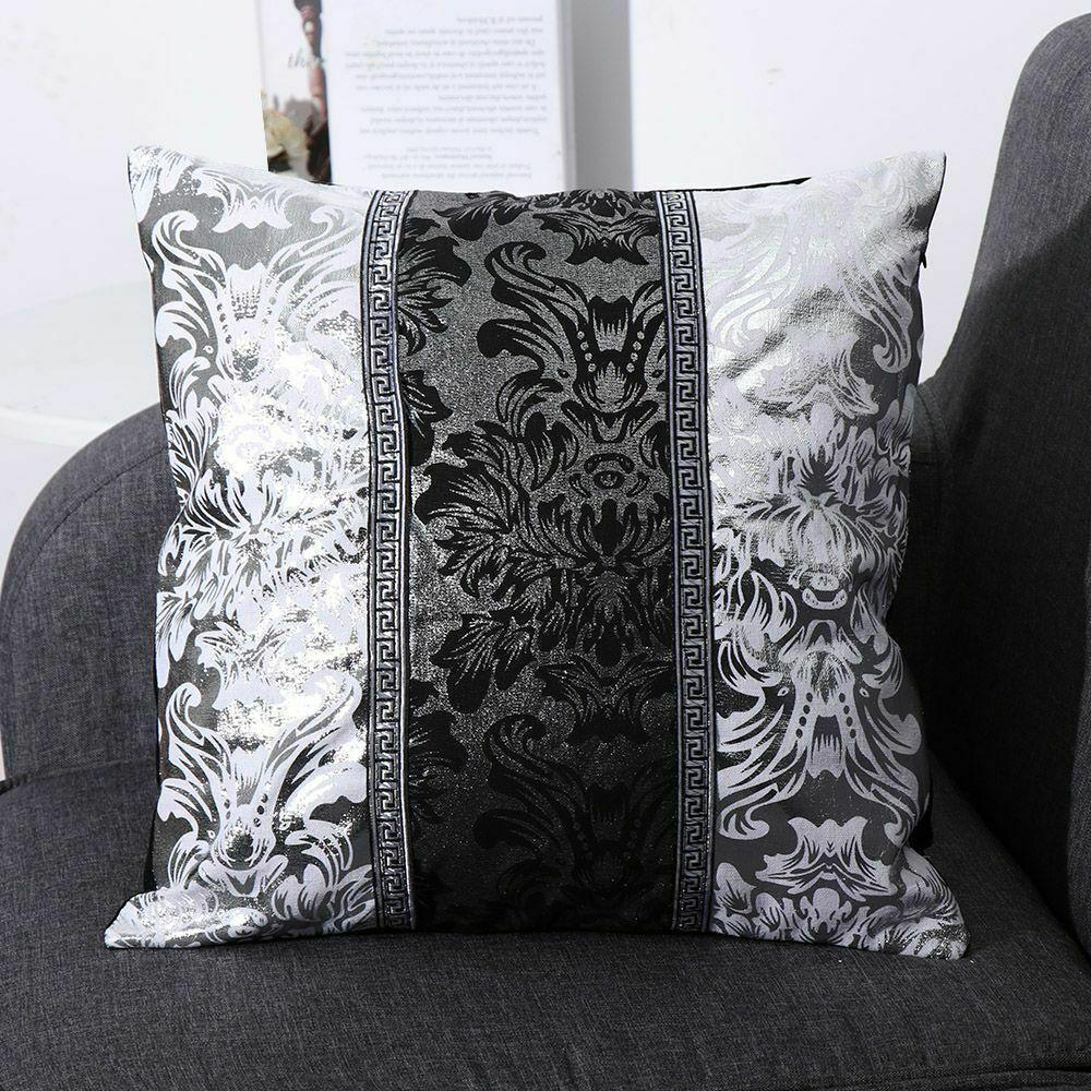Luxo Almofada preto e prata decorativo do caso capa Floral Pillow para tampas Sofá Car Decor Pillowcase Início Travesseiro