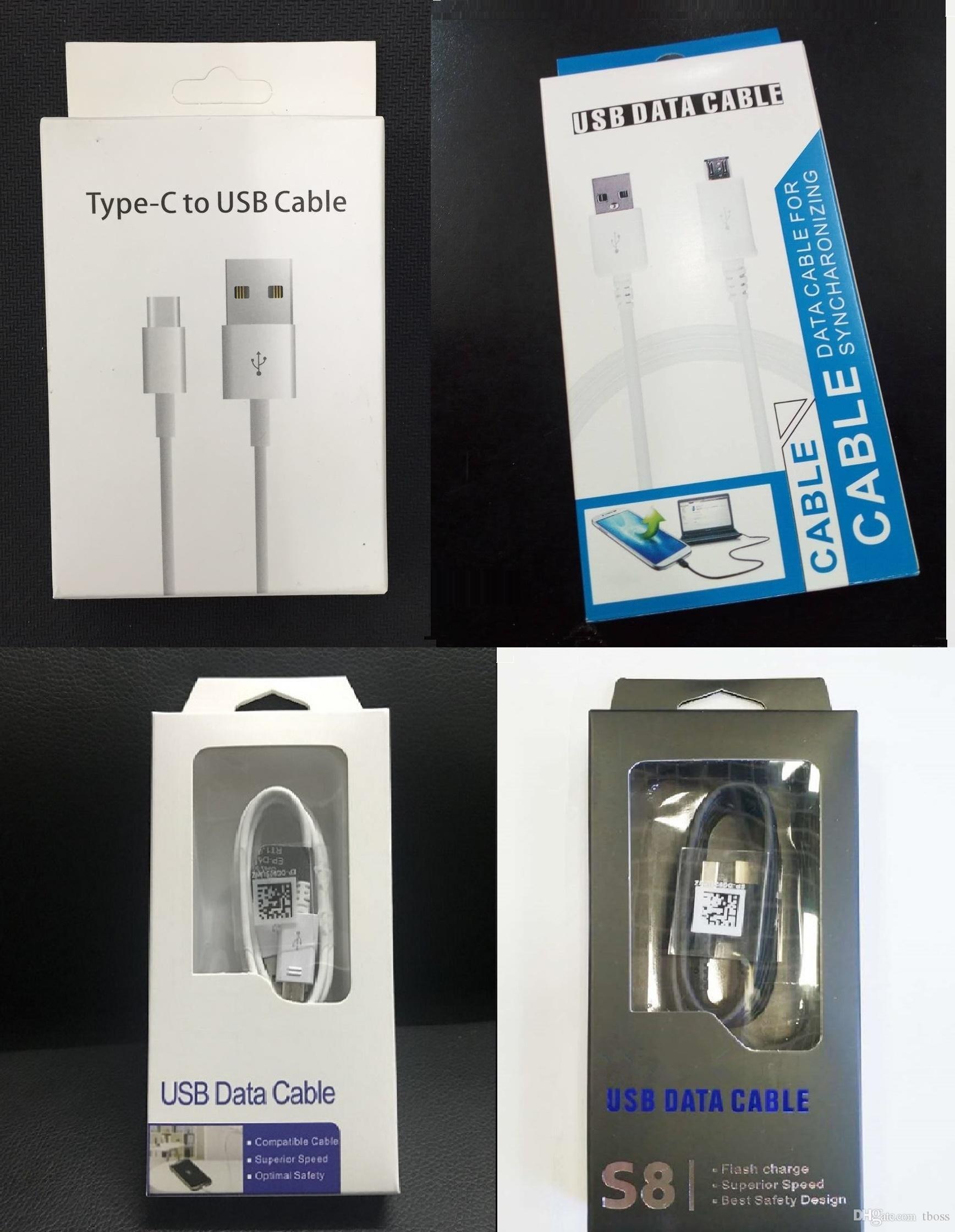 Kleinpaket-Beutel-Kästen, die Kasten für Telefon-Art C Mikro-USB-Aufladeeinheits-Datenkabel verpacken Samsung-Galaxie S4 S6 S8 S9 S10 Anmerkung 9 8 7 6 Universal