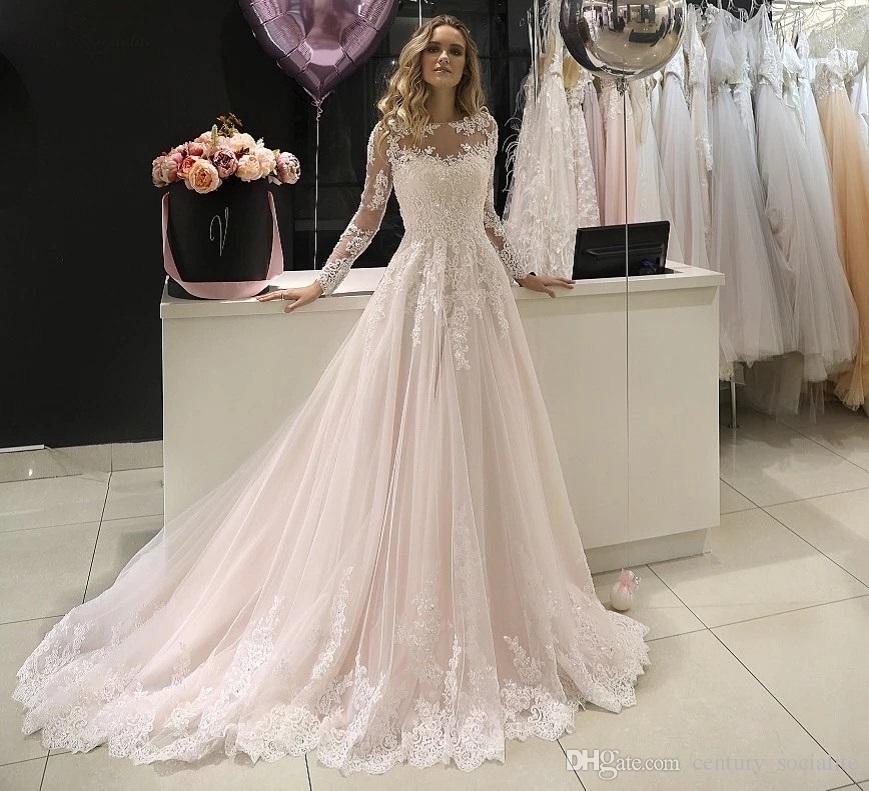 Vestidos de novia de playa 2019 Manga larga Vestidos de novia Apliques Botón abalorios Volver Vestidos de boda de la novia abito da sposa