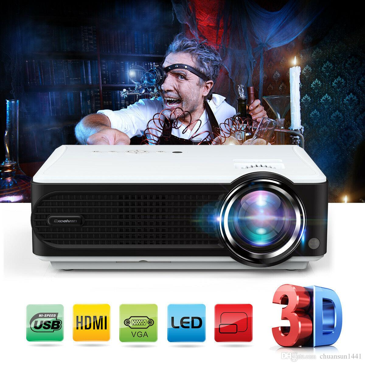 2019 FHD 1080P 7000 Lumens LED LCD Projector HDMI USB Home Movie Theater 2000:1