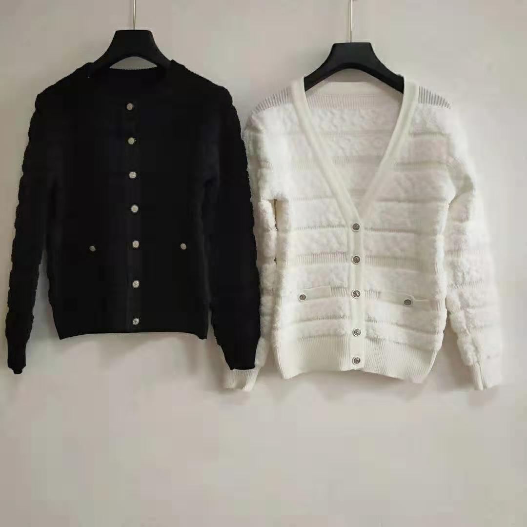 2019 Freies Verschiffen-Herbst-Marke Same Stil Pullover Schwarz Weiß Langarm V-Ausschnitt Cardigan Top Panelled QIAN