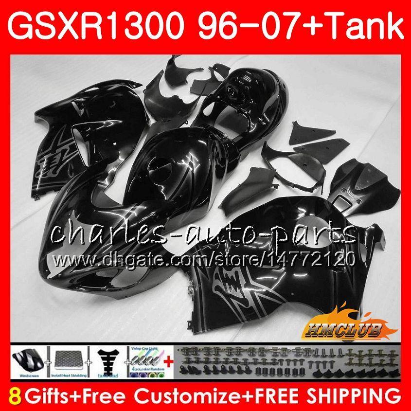 Corpo para SUZUKI Hayabusa GSXR 1300 GSXR1300 preto brilhante 96 02 03 04 05 06 07 24HC.11 GSX R1300 1996 2002 2003 2004 2005 2006 2007 Carenagem