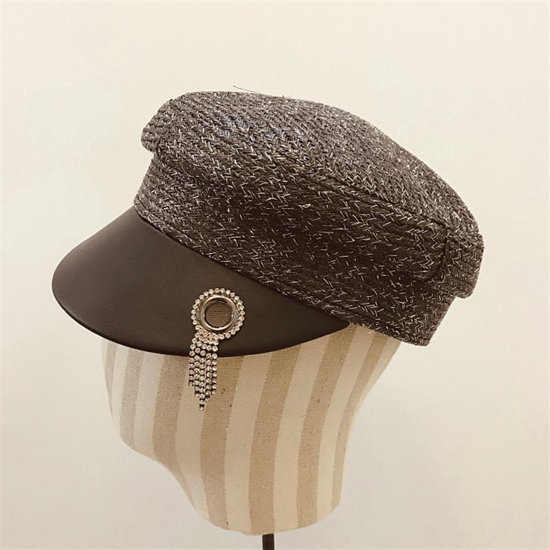 Cadena elegante de seda de plata de alambre sombreros cristalino de la manera del casquillo del sombrero verano de las mujeres Golf Buceo sombrero al aire libre de la calle de camionero