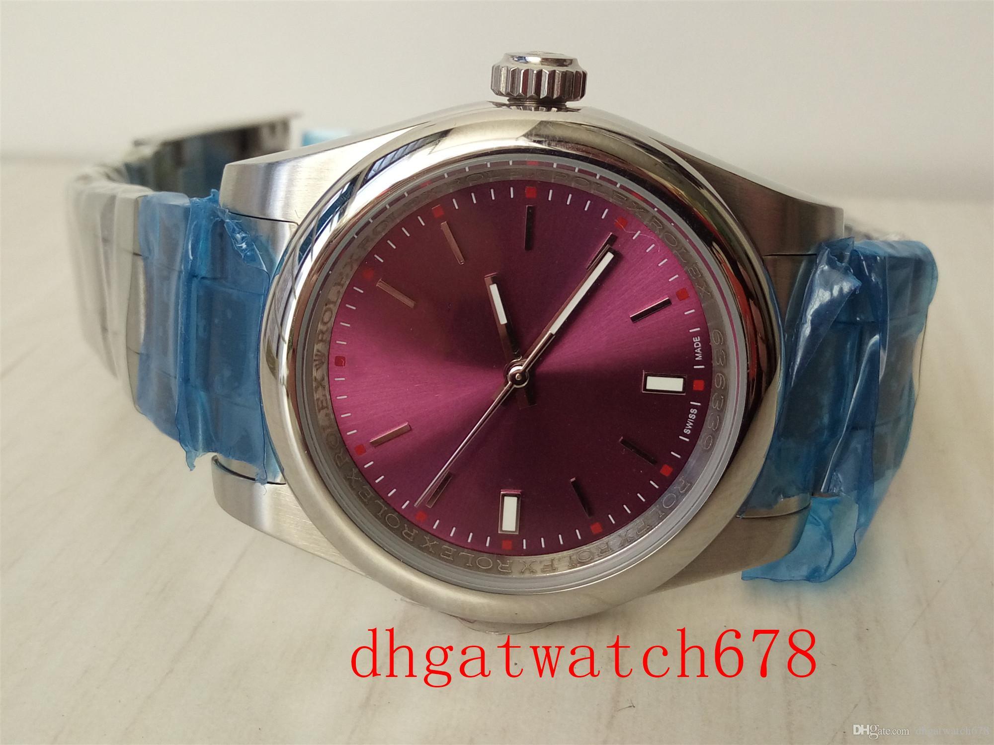 Luxus-Uhren 39mm Automatische Stahl gewölbte Lünette Rote Traube Dial 114300 automatische mechanische männliche Uhr