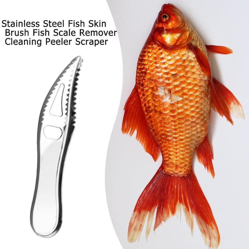 1pc Stainless Steel Cleaning Fish Scale Knife Fish Skin Scraper Peeler Remover Scaler Brush Seafood Tools Kitchen Gadgets