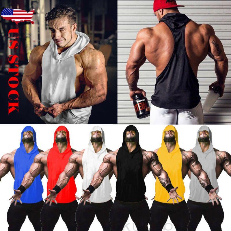 Erkekler Kapüşonlular Tank Top Kolsuz Muscle Gym Spor İnce Yelek Vücut Kapşonlu Hip Hop Streetwear Egzersiz Elastik Erkekler kolsuz bluz