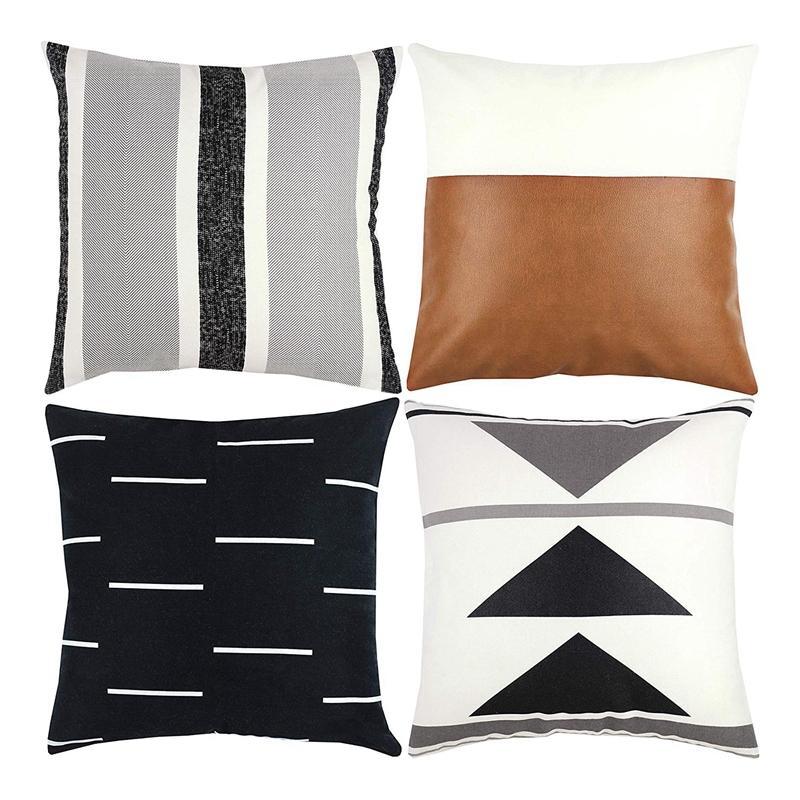Decorativi Gettare federe Solo per il caso di cuscino divano, un divano o letto set di 4 pollici 18X18 di disegno moderno Breve peluche Nero Bianco geometrica