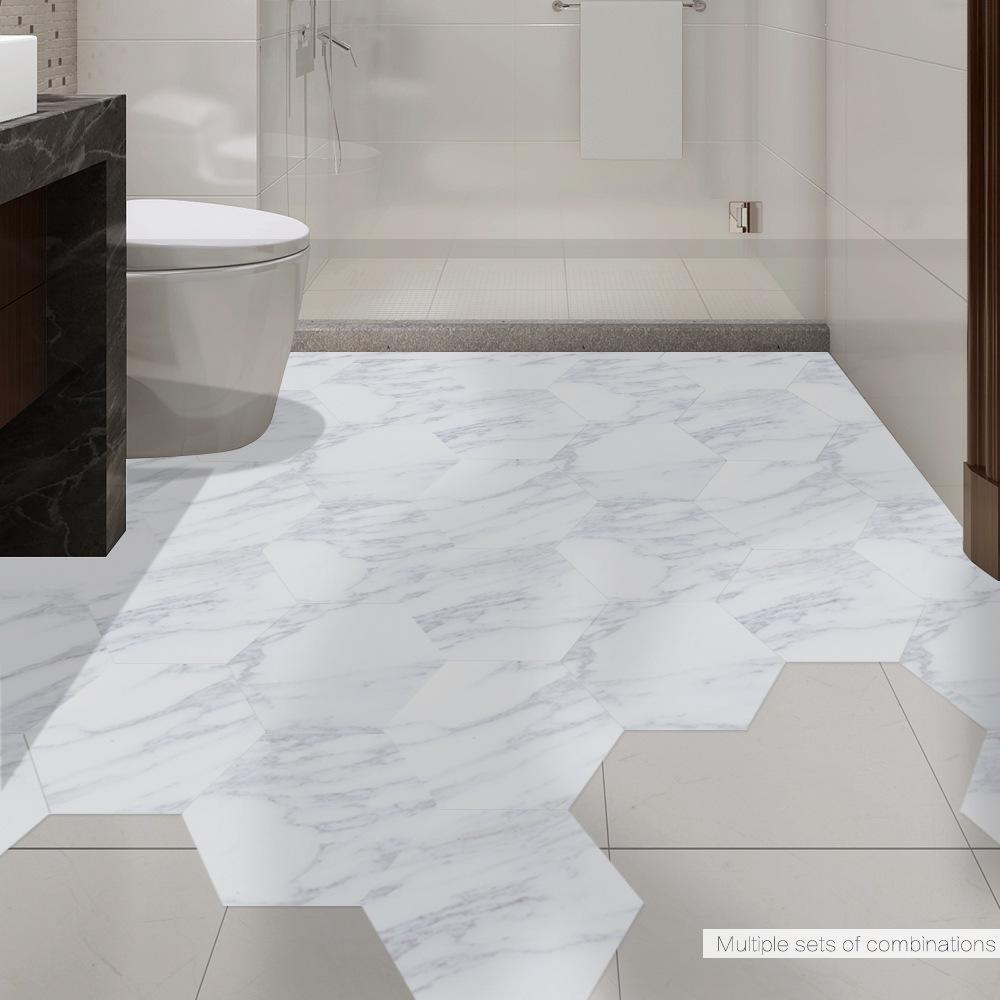 Resistente al agua Azulejos Cuarto de baño del piso de mármol etiqueta adhesiva de PVC Suelo de la etiqueta engomada PeelStick antideslizante de la entrada de casa Decoración