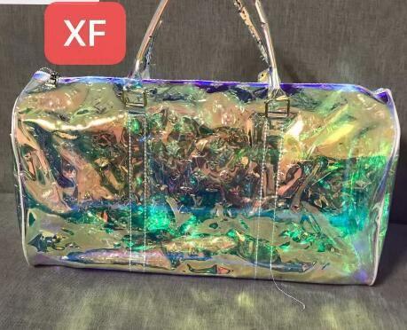 2020 نمط جديد فاخر الكلاسيكية ليزر فلاش PVC مصمم حقائب اليد 55CM شفافة واق من المطر حقيبة رائعة حقيبة اللون حقيبة سفر XF
