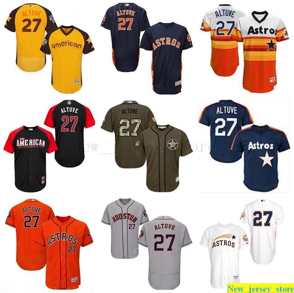 2019 delle donne degli uomini della Gioventù 27 Jose Altuve Jersey bambini baseball cucito arancione grigio bianco oro verde alternativo Flex Base collezione autentica