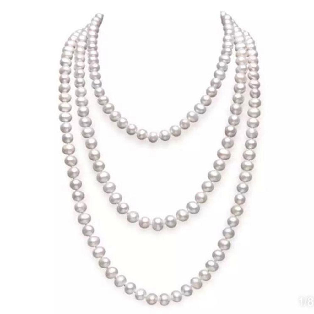 Frauen exquisite lange Perlenkette Braut Hochzeiten Geschenk Feine Schmuck Perle Pullover Ketten