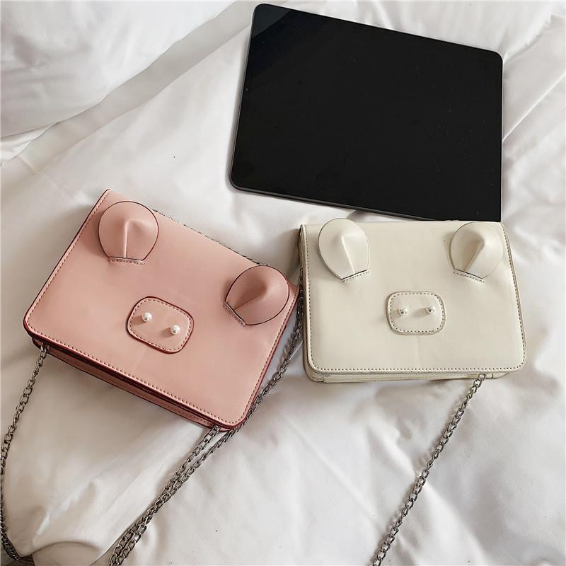 Free2019 Pig Sprouting Lovely Bag Woman The Tide All-match Messenger Chain Girl Small Square Package