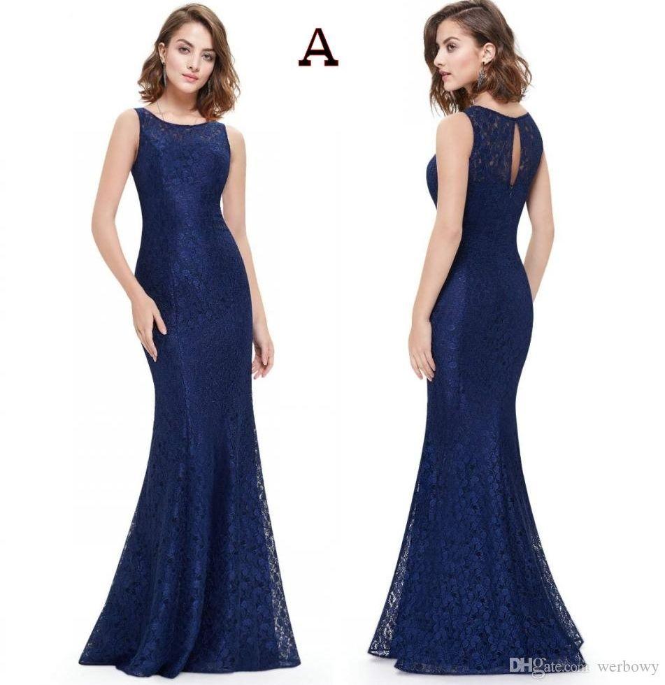 2020 Navy Blue Lace Mermaid Long Модест мать невесты платья с Cap рукава Простые элегантные платья матери к свадьбе