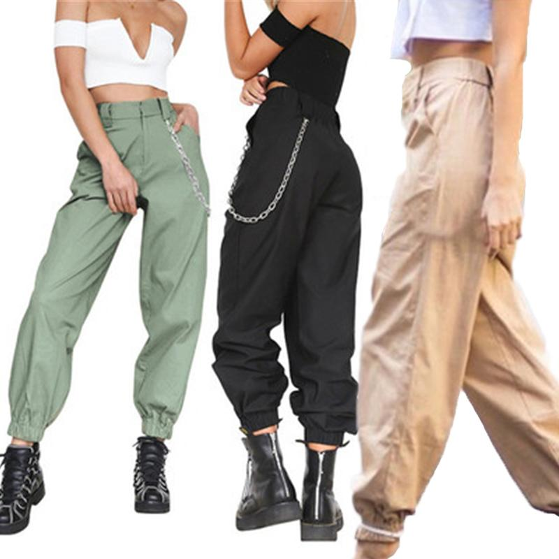 Harem Pants 2020 Women Casual High Waist Cargo Pants Solid Color Trousers Female Punk Sport Pant Street Hip Hop Cool Long Pant