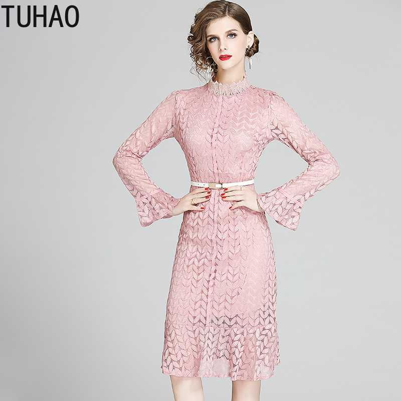 TUHAO Women Elegant Pink Lace Dress Female 2020 Summer Office Party Robe Femme Designer High Quality Ruffles Vestidos WM82