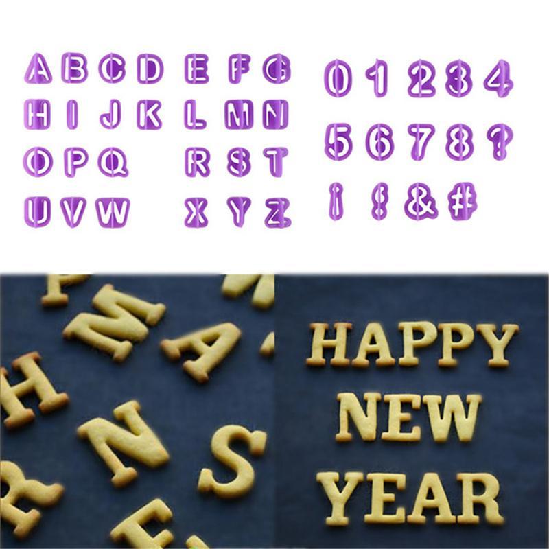 Herramientas 40PCS pasta de azúcar del cortador de azúcar que adorna la magdalena del molde superior de plástico del alfabeto mayúsculas Número Cortes de cookies