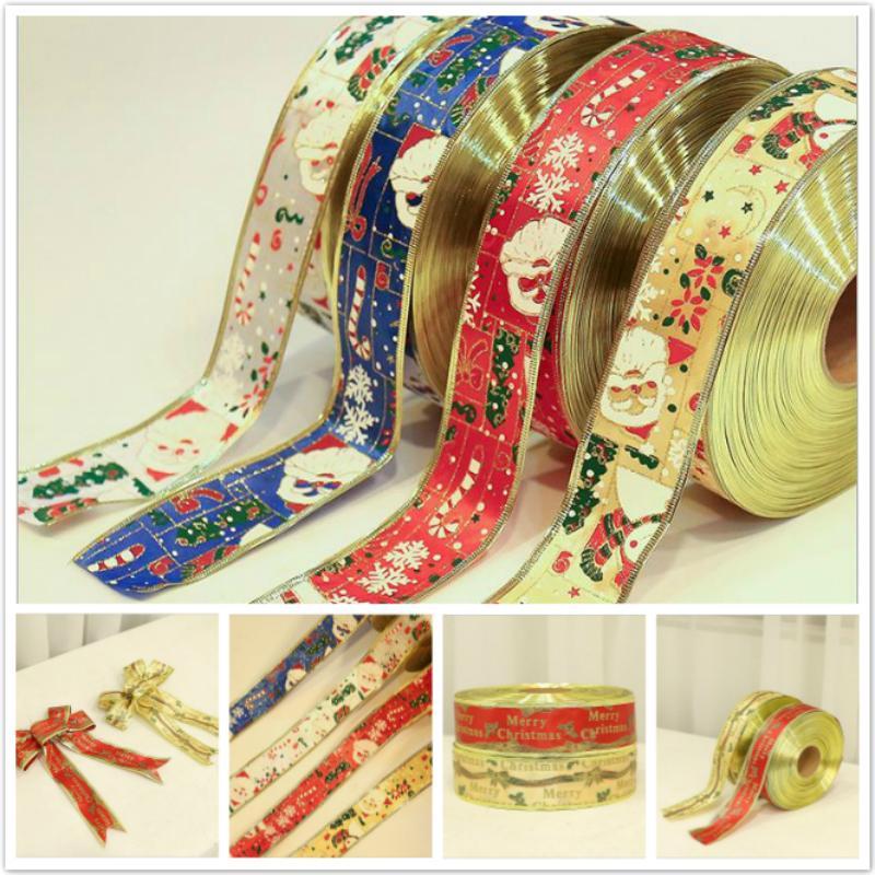 2M/pcs Christmas Ribbon Gift Box Decorative Bow Ribbon Santa Claus Christmas Tree Ornament Ribbons Home Decor