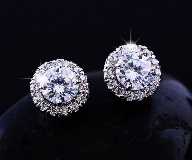 2018New Ankunft Beste Freunde 18 Karat Weißgold Überzogene Ohrringe Große Diamant Ohrringe Für Frauen weiß Zirkon Ohrringe