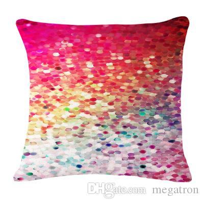 100pcs nouveau style imprimé couleur éblouissante linge de coton taie 45 * 45cm ménage canapé housse de coussin bureau Livraison gratuite