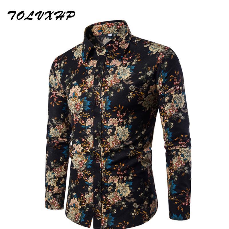 Yeni Marka-Giyim Moda Gömlek Erkek Keten Gömlekler Slim Fit Turn-Downown Erkekler Uzun Kollu Erkek Hawaii Gömlek Büyük Boyutları